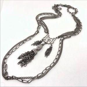 🆕Vintage Multi-Strand Silver Tassel Necklace